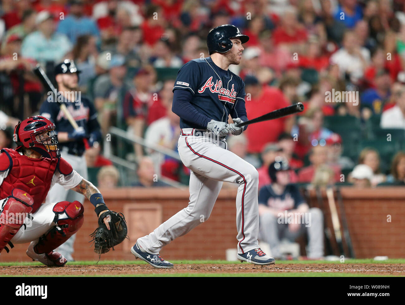 Atlanta Braves Freddie Freeman watches his solo home run leave the park in the sixth inning against the St. Louis Cardinals at Busch Stadium in St. Louis on May 24, 2019. Photo by Bill Greenblatt/UPI Stock Photo