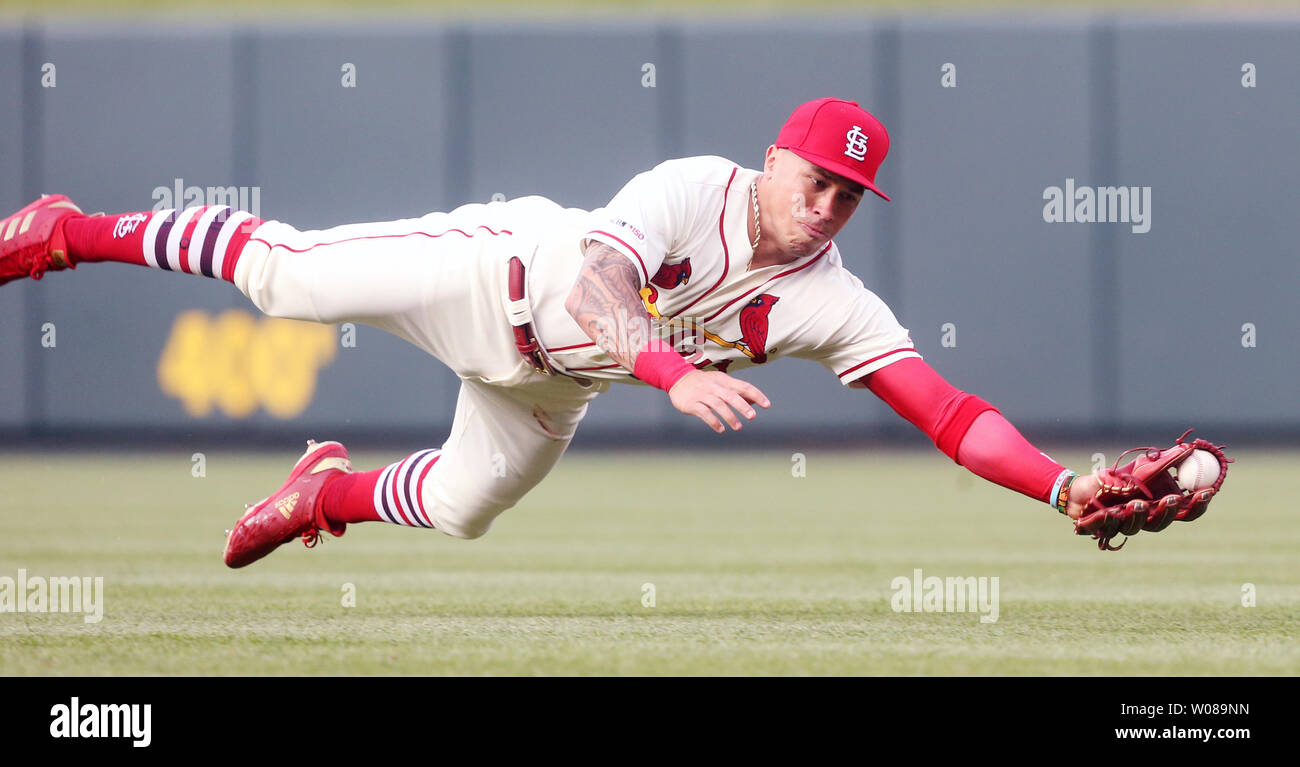 St. Louis Cardinals second baseman Kolten Wong makes a diving catch on a ball for an out off the bat of Atlanta Braves Freddie Freeman in the first inning at Busch Stadium in St. Louis on May 25, 2019. Photo by Bill Greenblatt/UPI Stock Photo