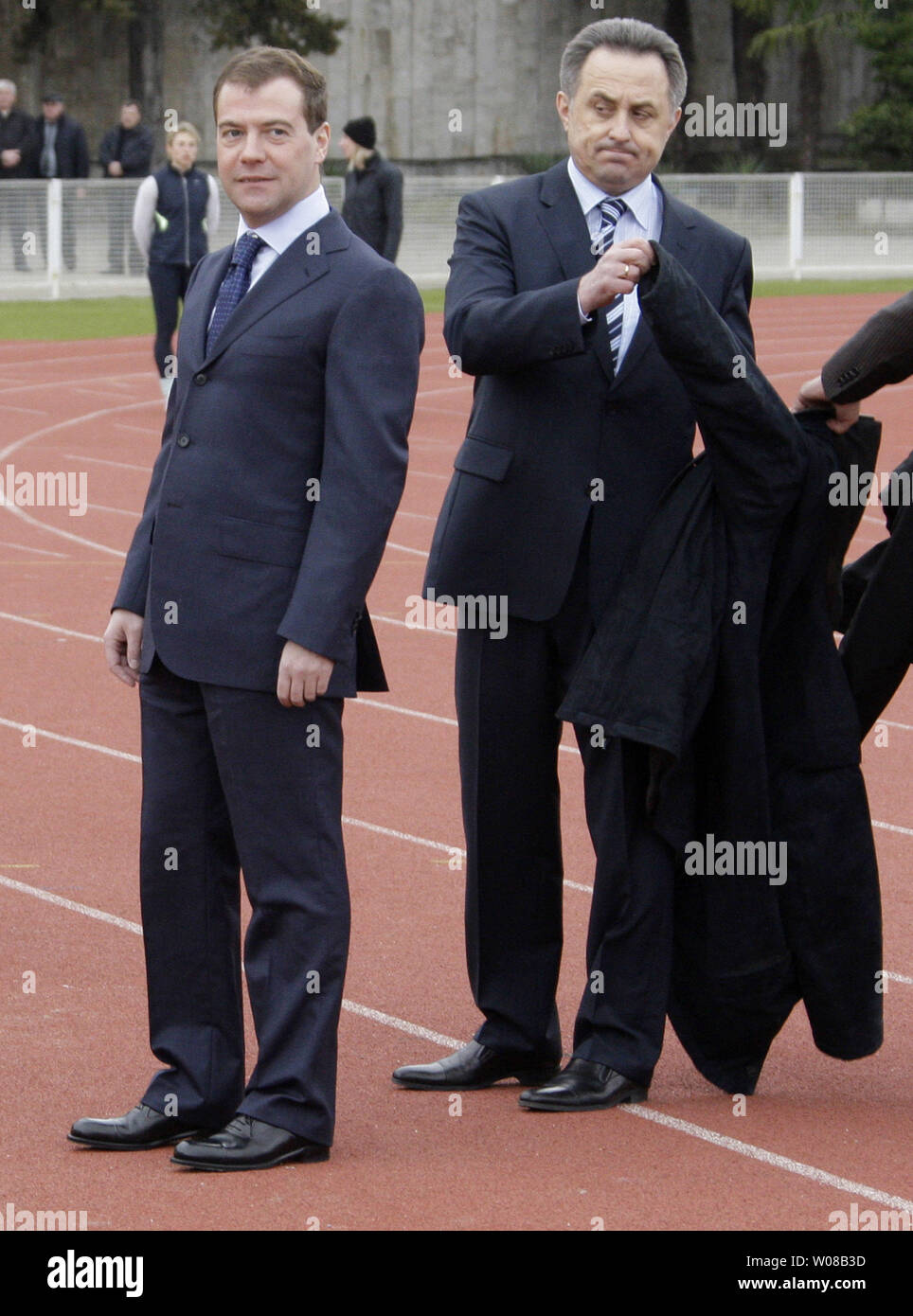 Russian President Dmitry Medvedev (L) and Sports Minister Vitaly Mutko visit the Southern Federal Training Centre in Sochi on March 23, 2009. Medvedev on Monday assured that the economic crisis will not affect the state funding for the 2014 Winter Olympics. (UPI Photo/Anatoli Zhdanov) - Stock Image