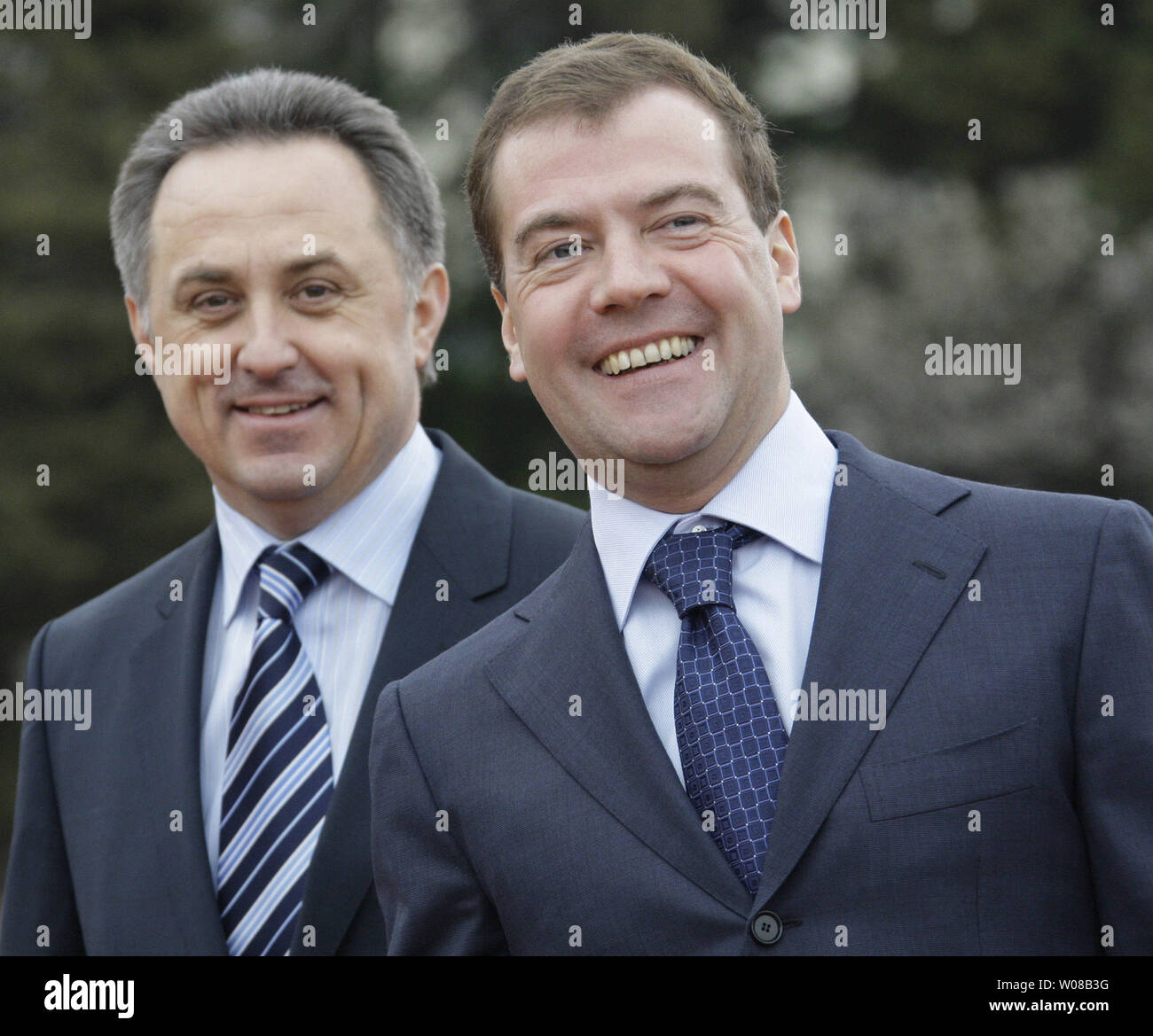 Russian President Dmitry Medvedev and Sports Minister Vitaly Mutko (L) visit the Southern Federal Training Centre in Sochi on March 23, 2009. Medvedev on Monday insured that the economic crisis will not affect the state funding for the 2014 Winter Olympics. (UPI Photo/Anatoli Zhdanov) - Stock Image