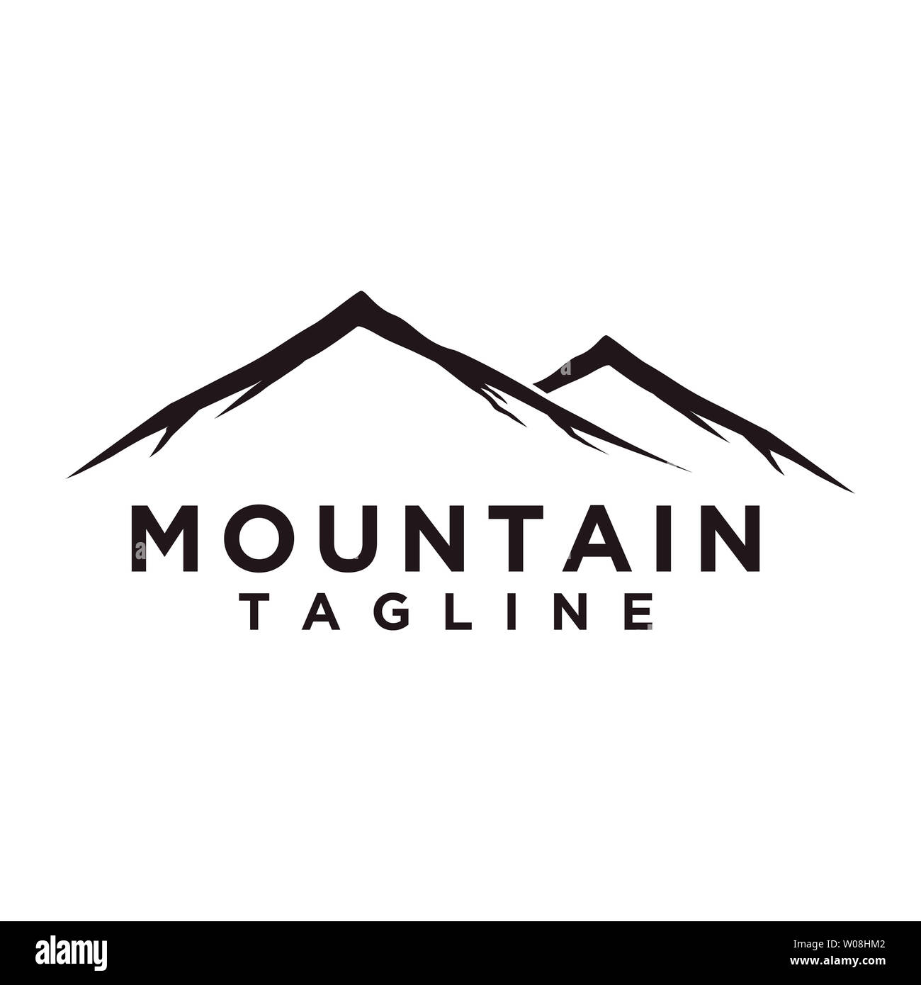 Mountain or hill or Peak logo design vector. Camp or adventure icon, Landscape symbol and can be used for travel and tourist brands. Minimalist style - Stock Image