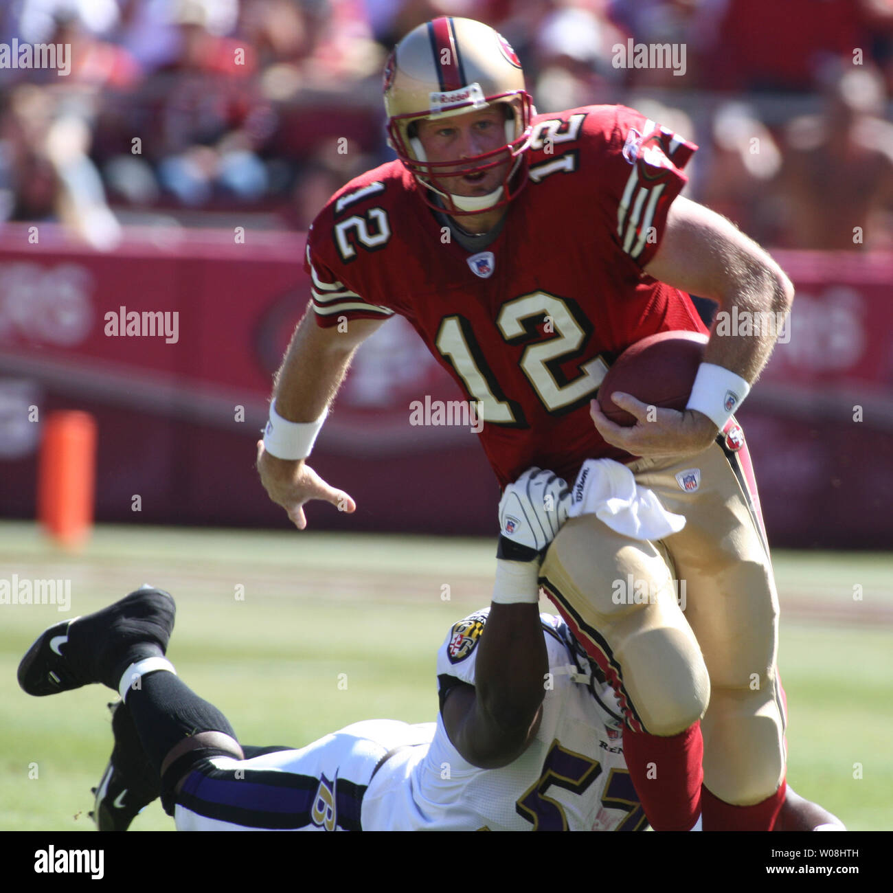 new concept 7f052 96b69 San Francisco 49ers QB Trent Dilfer (12) is grabbed from ...