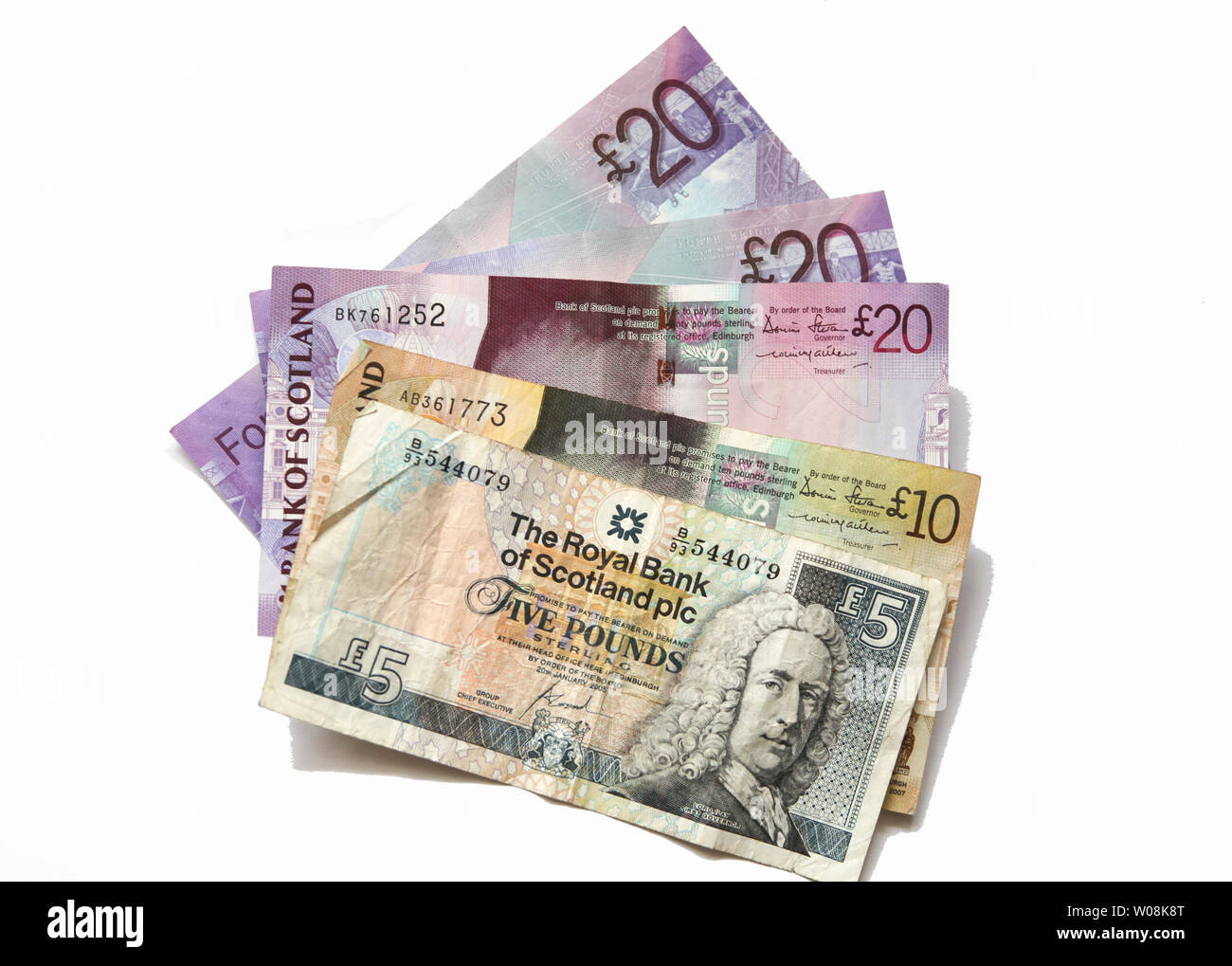 Different banknotes from Scotland - Stock Image