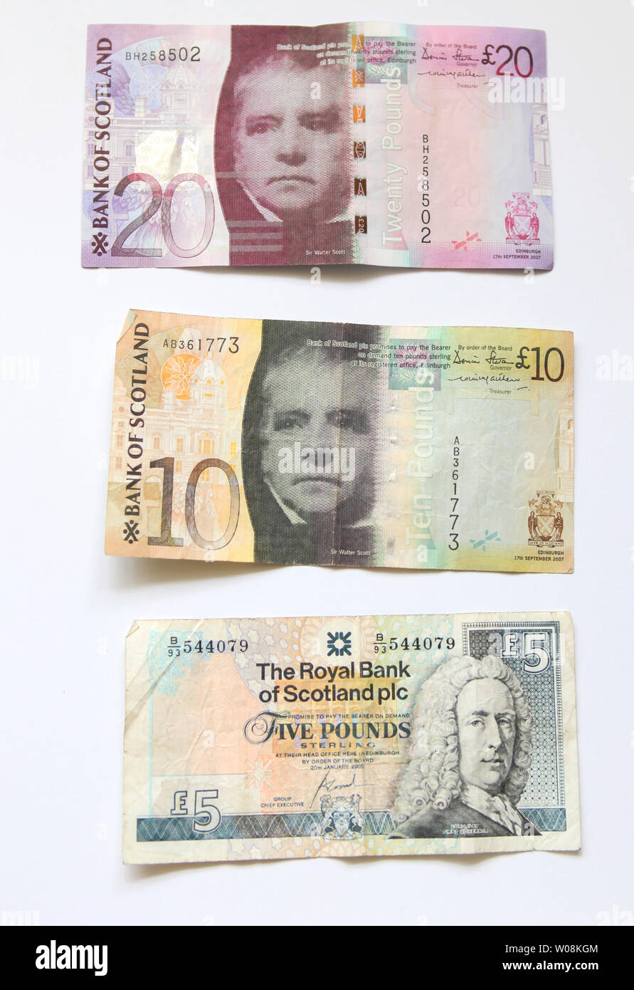 Different scottish banknotes - Stock Image