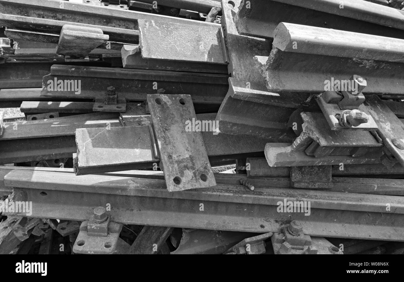 old rusty railroad tracks in black and white Stock Photo