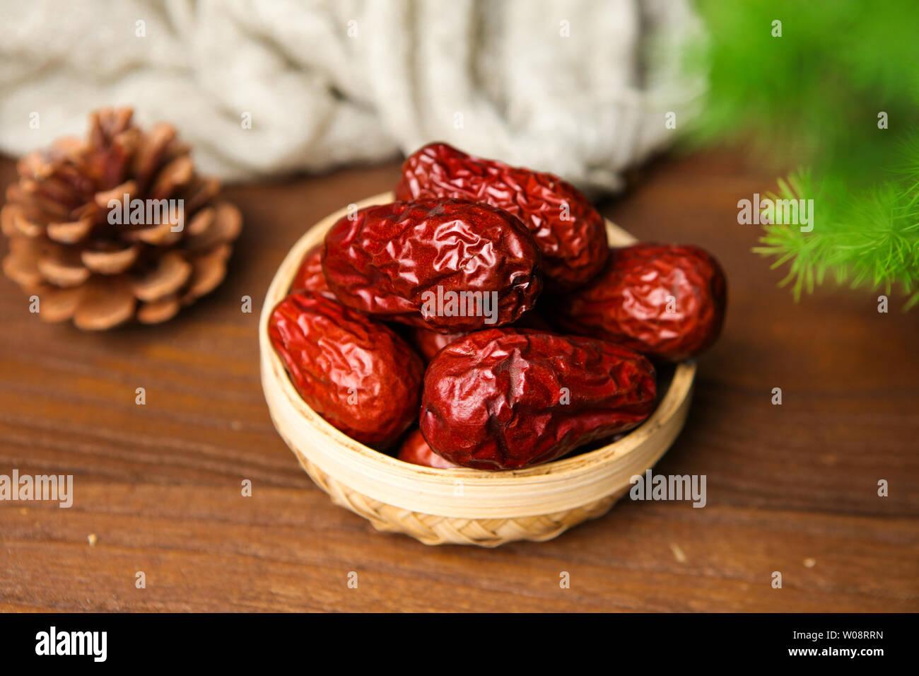 Dried fruit jujube and field jujube big red jujube Stock Photo
