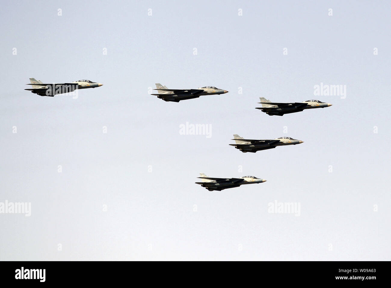 Iranian fighter jets take part during the National Army Day military parade in front of the mausoleum of the Iran's late leader Ayatollah Khomeini in Tehran, Iran on April 18, 2011. The Iranian President Mahmoud Ahmadinejad used the occasion to accuse the United States for sowing discord in the Middle East.    UPI/Maryam Rahmanian - Stock Image