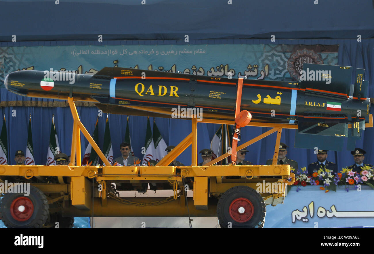 Iranian-made  Qadr missiles are displayed during the National Army Day military parade in front of the mausoleum of the Iran's late leader Ayatollah Khomeini in Tehran, Iran on April 18, 2011. The Iranian President Mahmoud Ahmadinejad used the occasion to accuse the United States for sowing discord in the Middle East.    UPI/Maryam Rahmanian - Stock Image