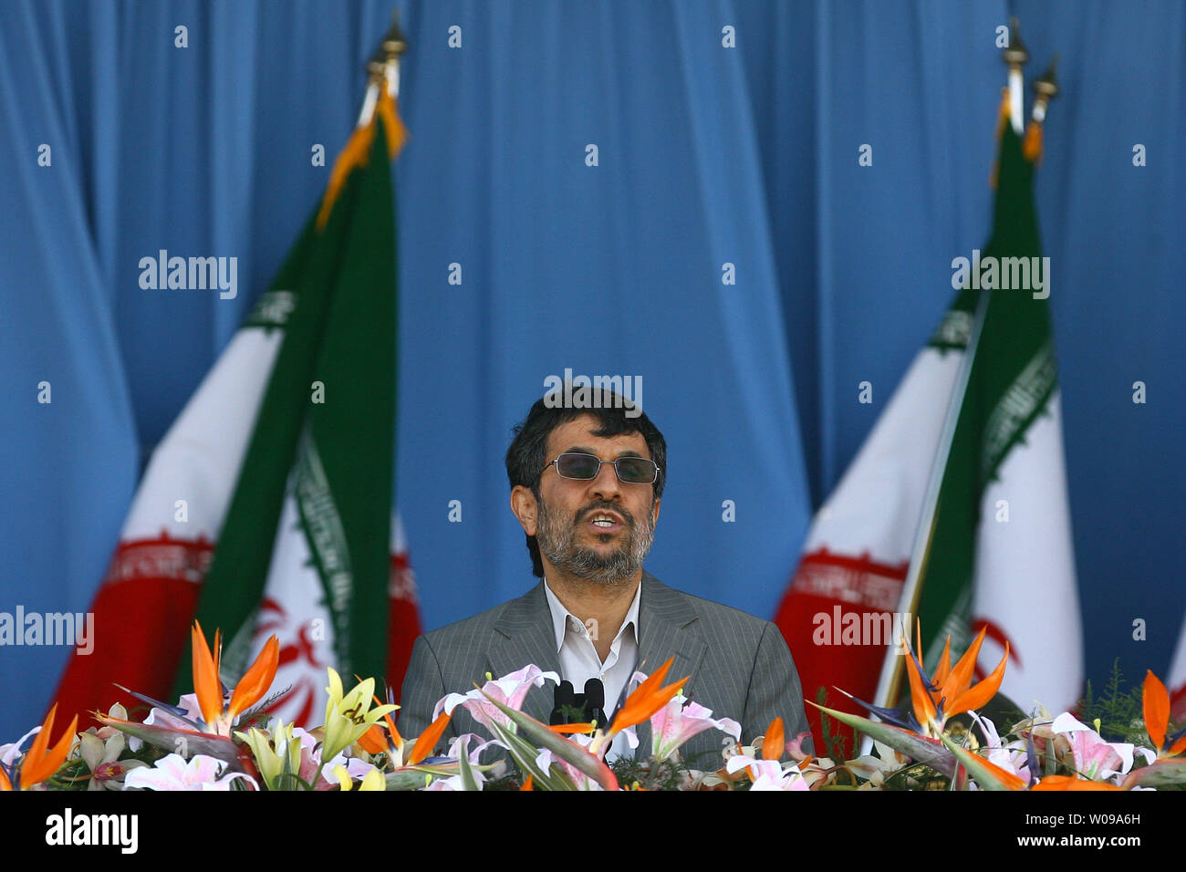 Iranian President Mahmoud Ahmadinejad speaks a pause in the National Army Day military parade in front of the mausoleum of the Iran's late leader Ayatollah Khomeini in Tehran, Iran on April 18, 2011. The Iranian President Mahmoud Ahmadinejad used the occasion to accuse the United States for sowing discord in the Middle East.    UPI/Maryam Rahmanian - Stock Image