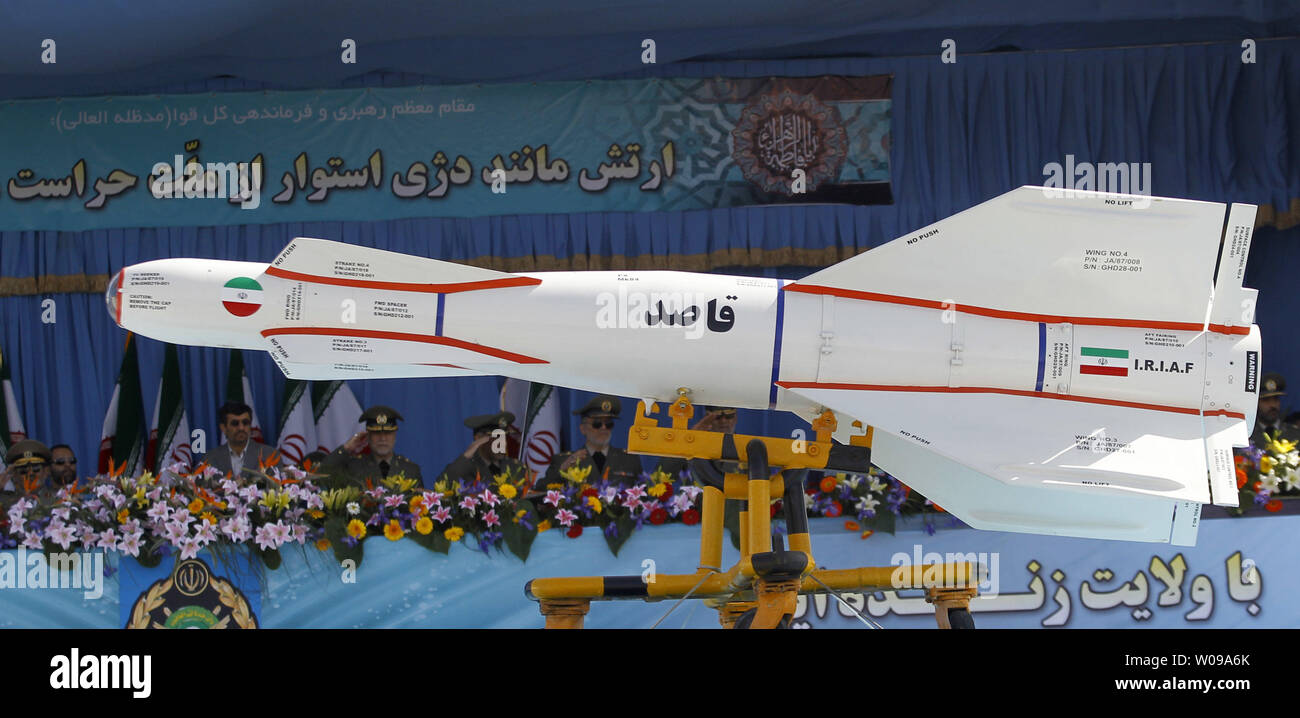 Iranian-made Ghased missiles are displayed during the National Army Day military parade in front of the mausoleum of the Iran's late leader Ayatollah Khomeini in Tehran, Iran on April 18, 2011. The Iranian President Mahmoud Ahmadinejad used the occasion to accuse the United States for sowing discord in the Middle East.    UPI/Maryam Rahmanian - Stock Image
