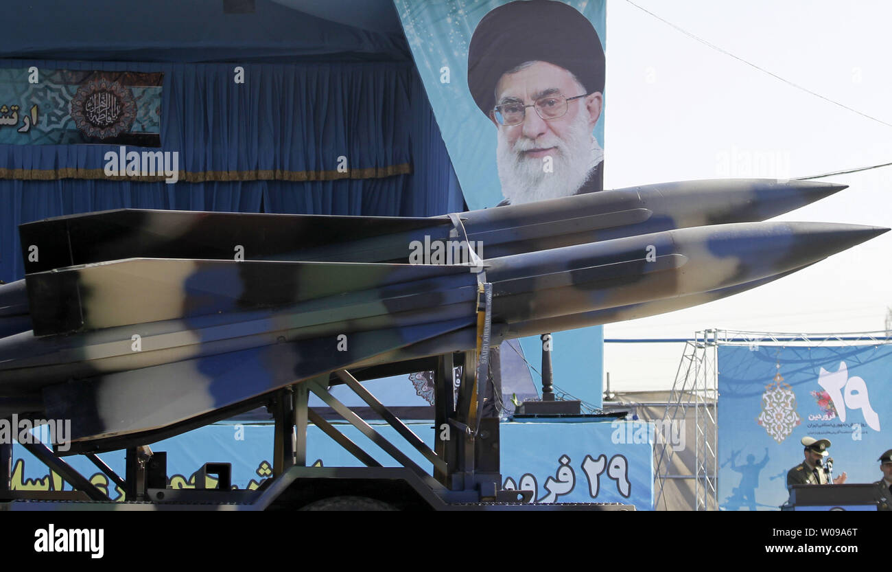 Iranian-made missiles are displayed during the National Army Day military parade in front of the mausoleum of the Iran's late leader Ayatollah Khomeini in Tehran, Iran on April 18, 2011. The Iranian President Mahmoud Ahmadinejad used the occasion to accuse the United States for sowing discord in the Middle East.    UPI/Maryam Rahmanian - Stock Image