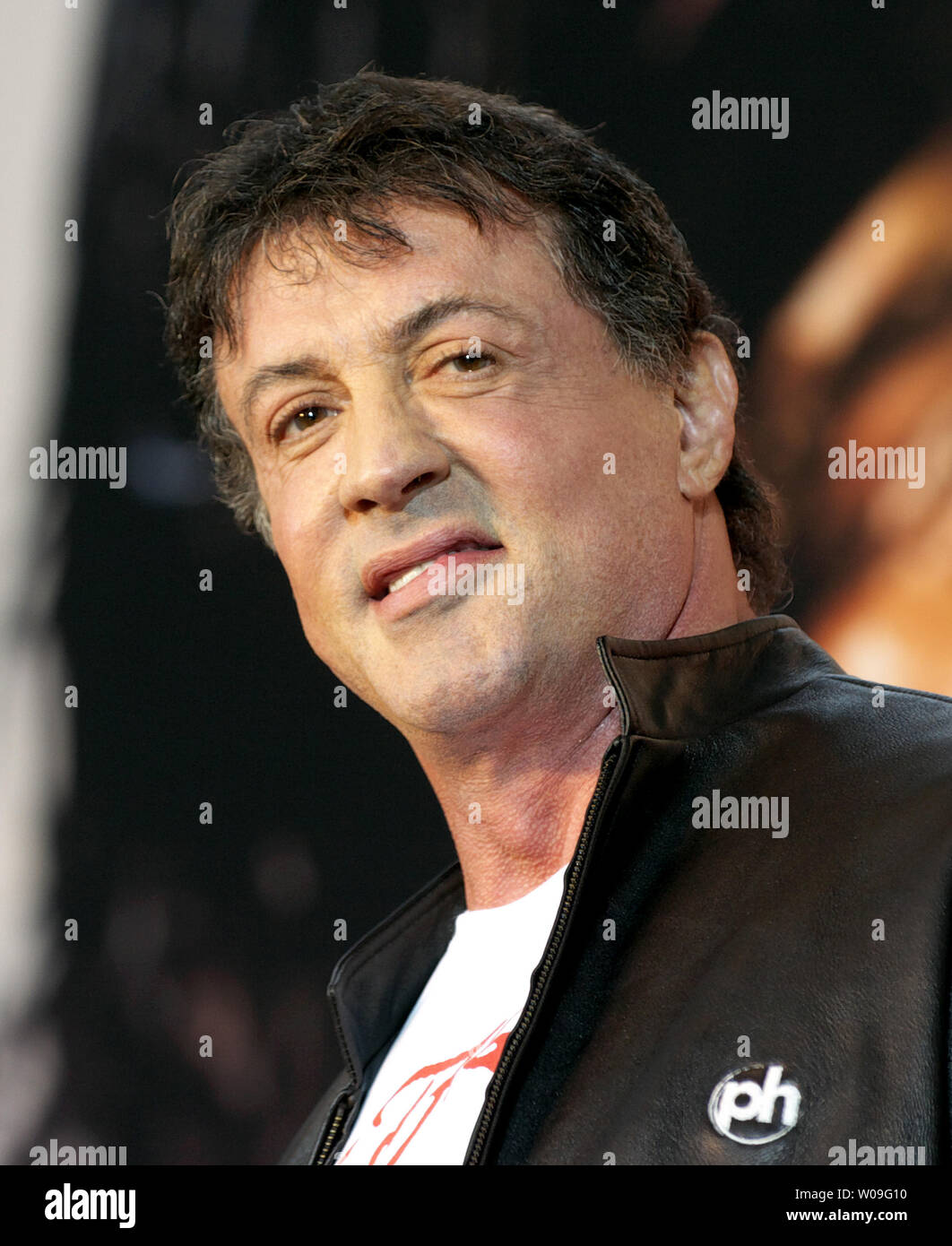 Hollywood's actor Sylvester Stallone attends the premiere for his film 'Rambo' at Tokyo, Japan on May 8, 2008. (UPI Photo/Keizo Mori) - Stock Image