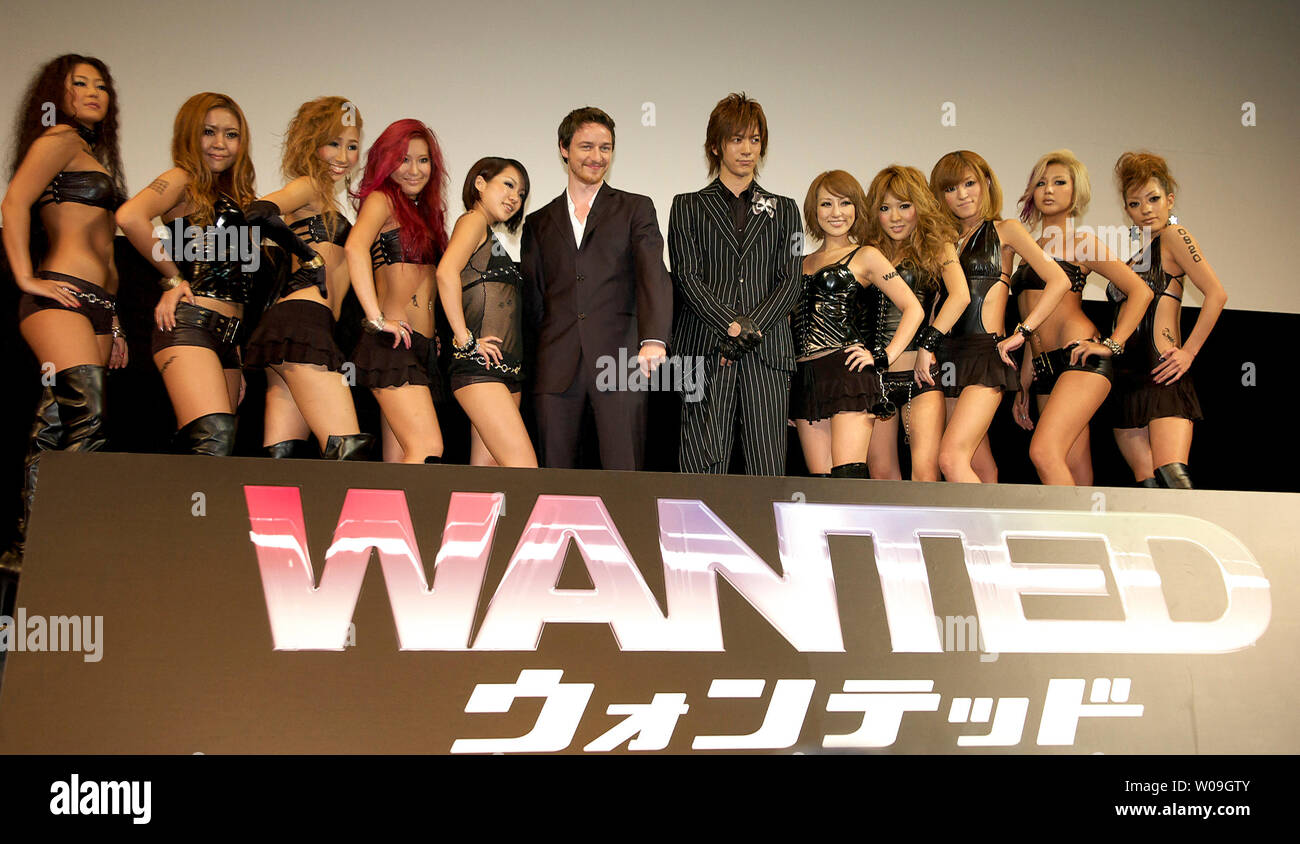 Actor James McAvoy (C), Japanese singer Daigo and Japanese