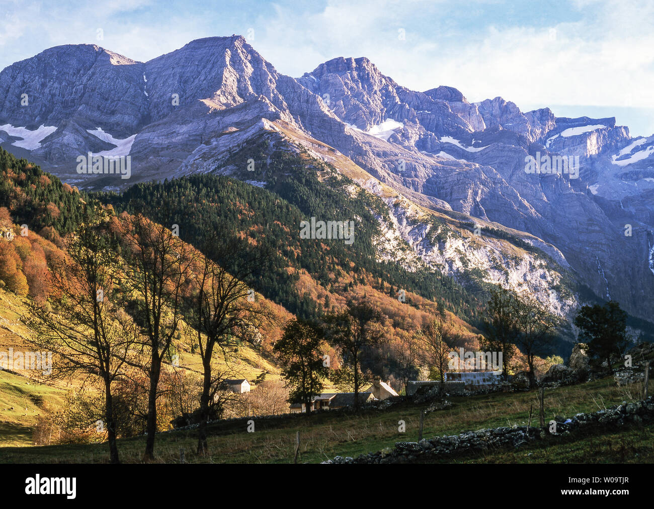 France. Hautes-Pyrenees.The left section of the Cirque of Gavarnie Stock Photo