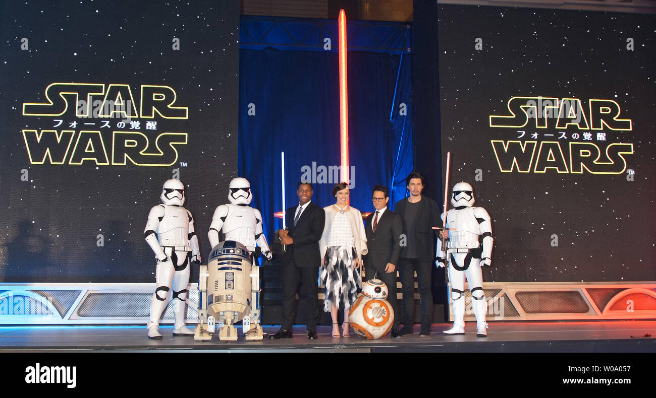 (L3-R2)Actor John Boyega, actress Daisy Ridley, Director J.J. Abrams, and actor Adam Driver attend the Japan Premiere for the film 'Star Wars: The Force Awakens' in Tokyo, Japan on December 10. 2015.     Photo by Keizo Mori/UPI - Stock Image