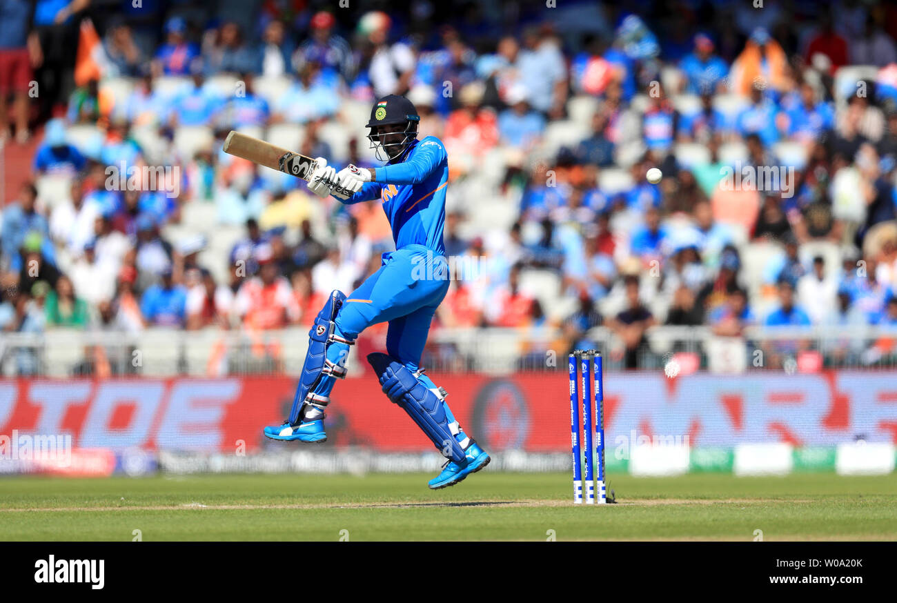 India's KL Rahul in batting action during the ICC Cricket World Cup group stage match at Emirates Old Trafford, Manchester. - Stock Image