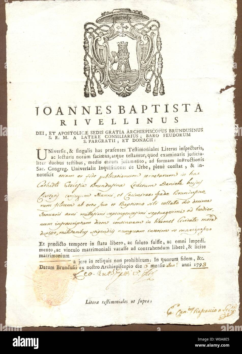 Italian marriage licence  in Latin with manuscript additions signed 6 January 1793 - Stock Image