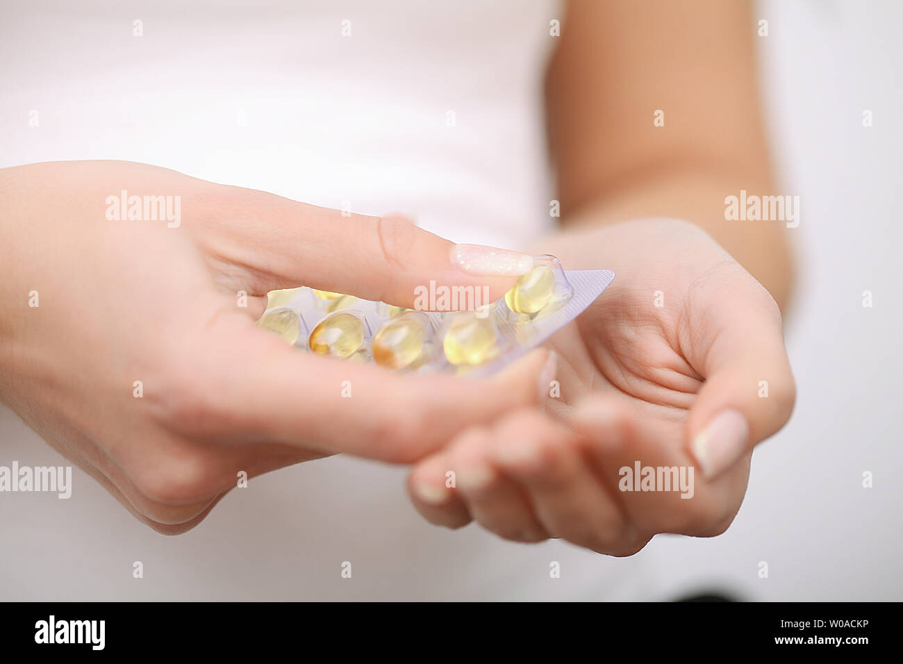 Acceptance of drugs. Self-treatment at home. Pills prescribed by your doctor Stock Photo