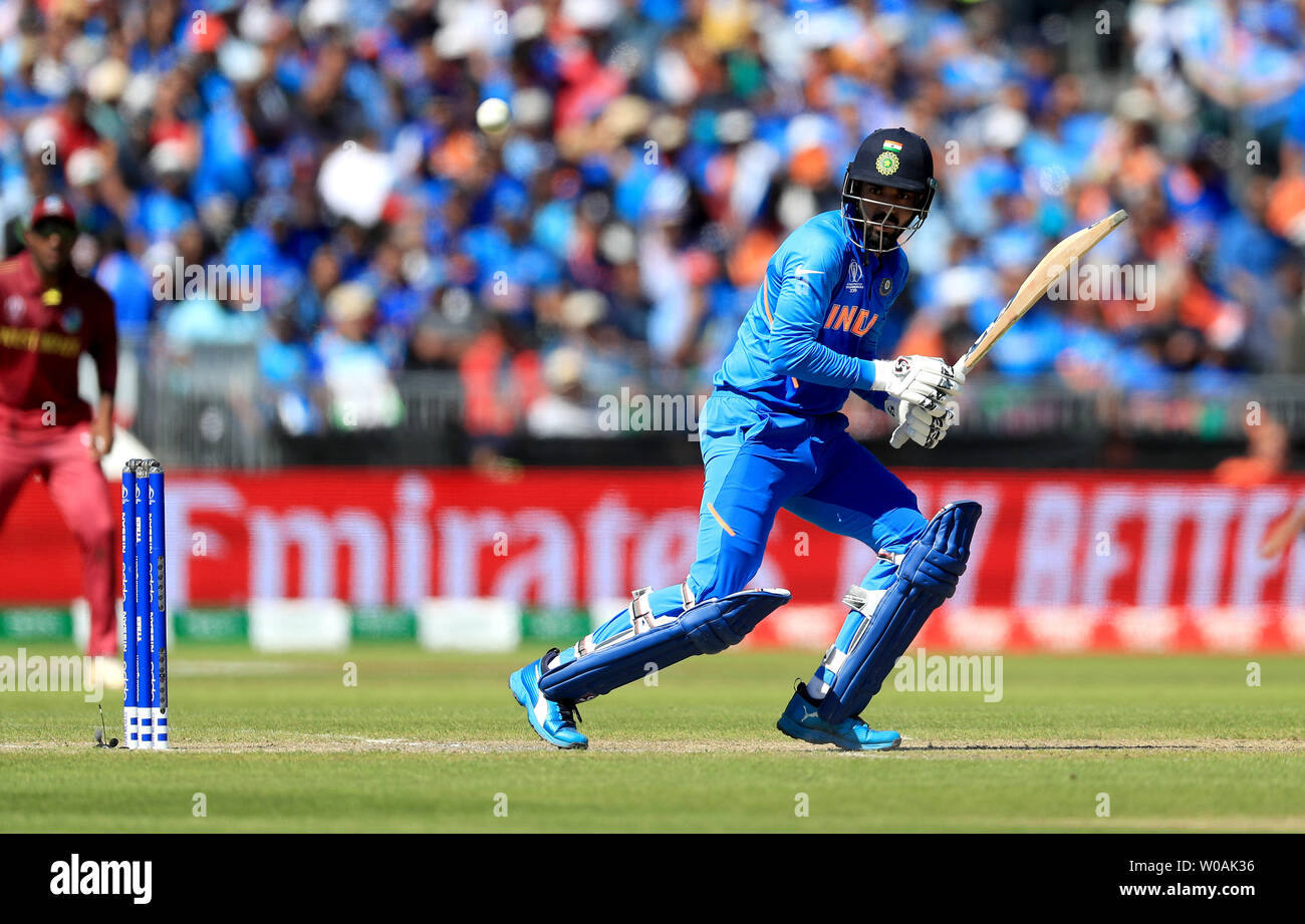 India's KL Rahul during the ICC Cricket World Cup group stage match at Emirates Old Trafford, Manchester. - Stock Image