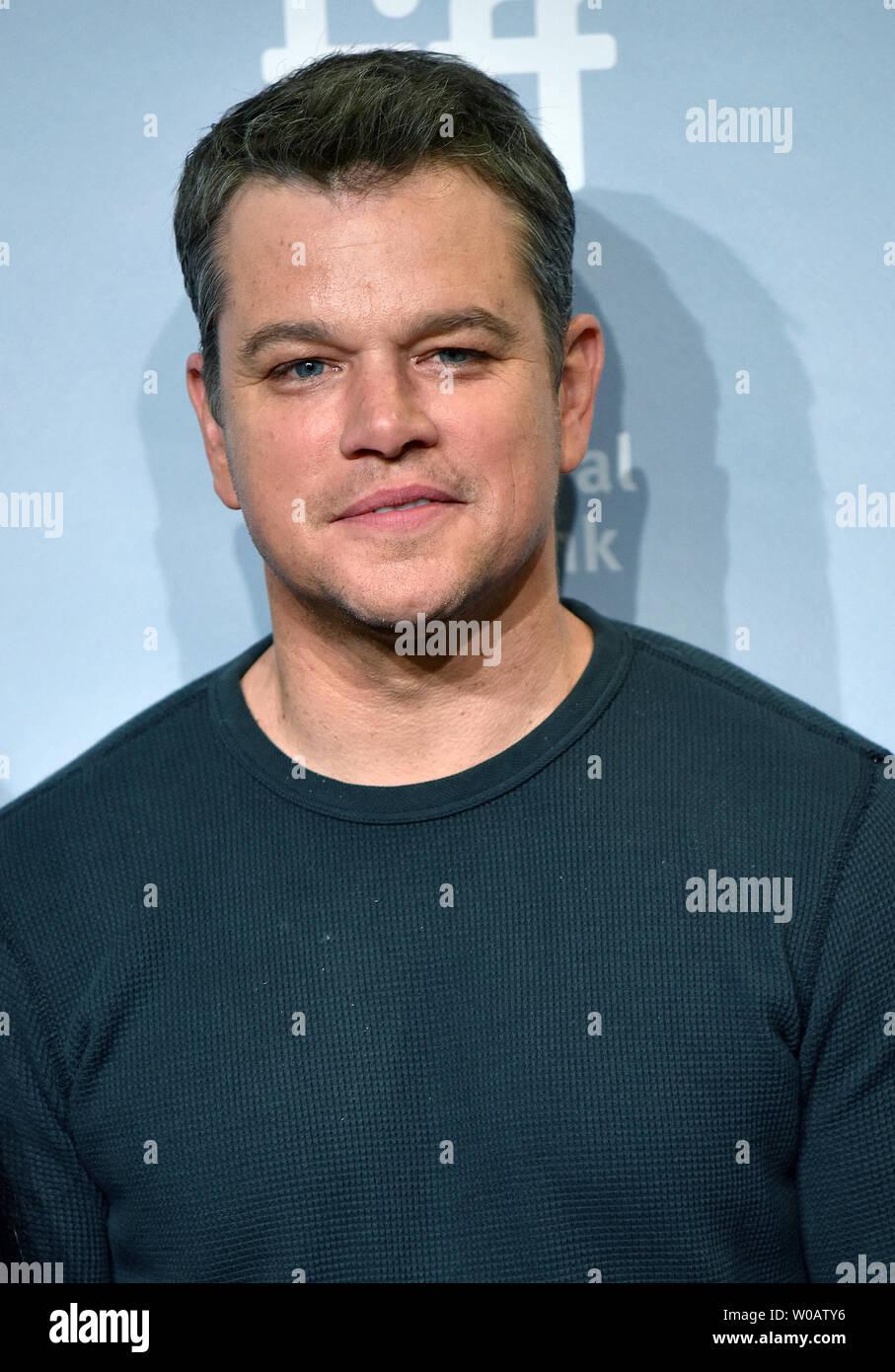 Matt Damon attends the Toronto International Film Festival photocall for 'Downsizing' at TIFF Bell Lightbox in Toronto, Canada on September 10, 2017. Photo by Christine Chew/UPI - Stock Image