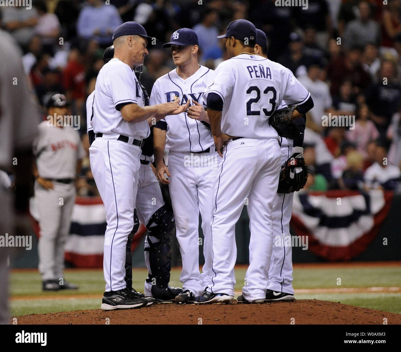 Tampa Bay Rays manager Larry Rothschild talks to pitcher J.P. Howell on the mound during the eighth inning of game one of the American League Conference Series against the Boston Red Sox at Tropicana Field in St. Petersburg, Florida on October 10, 2008.   (UPI Photo/Kevin Dietsch) . - Stock Image