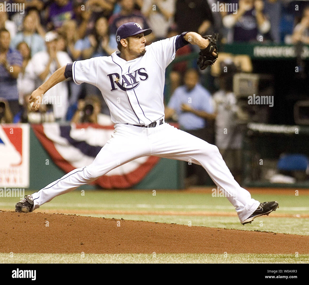 Tampa Bay Rays starting pitcher Matt Garza throws against the Boston Red Sox during game seven of the American League Championship Series at Tropicana Field in St. Petersburg, Florida on October 19, 2008.  (UPI Photo/David Mills) Stock Photo