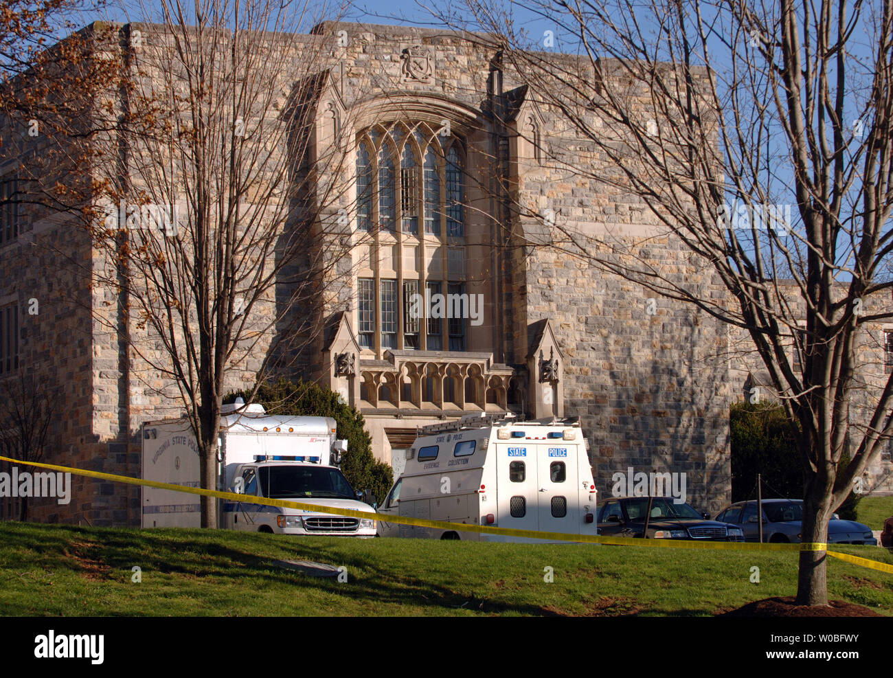 State Police Continue To Work The Crime Scene At Norris Hall At Virginia Tech Where 33 People Died On April 16 In Two Shooting Incidents On Campus In Blacksburg Virginia On April