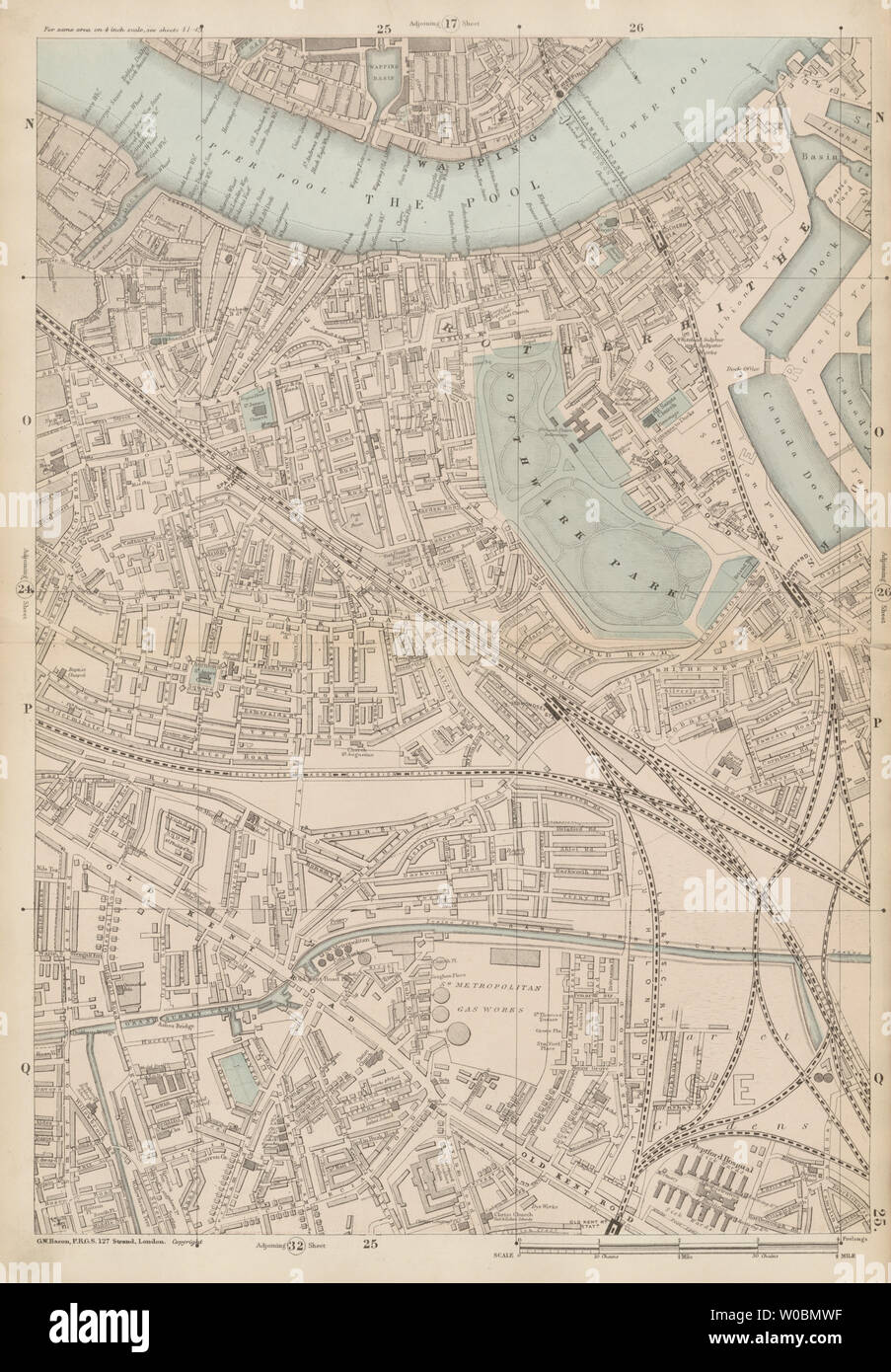 LONDON Bermondsey Peckham Rotherhithe Wapping Surrey Docks 1933 old map