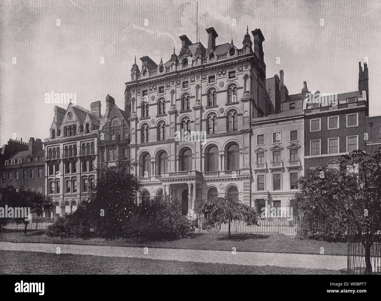 Lincoln's Inn Fields - Showing the Inns of court hotel. London 1896 old print - Stock Image