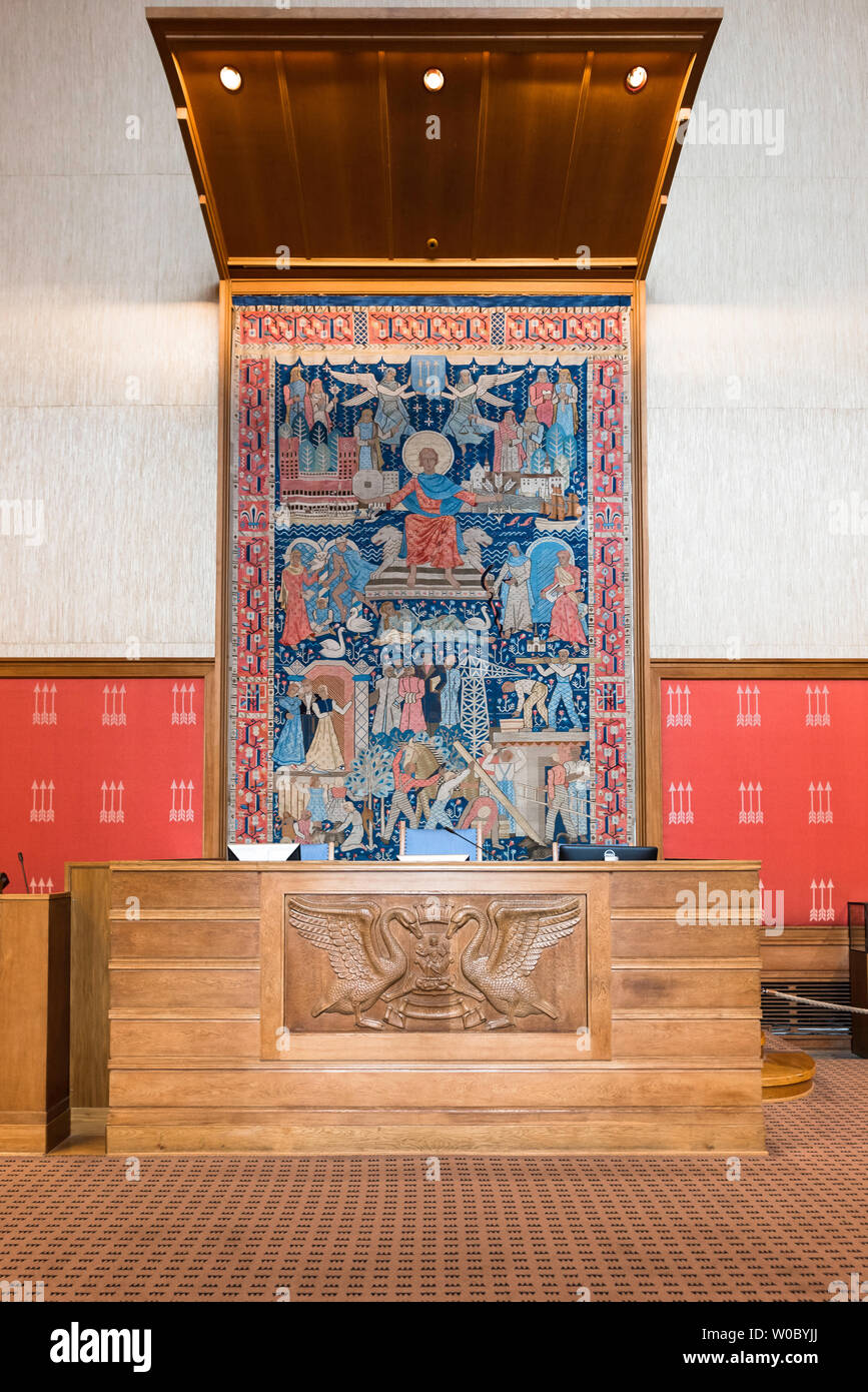 Oslo City Hall, view of the Speaker's Chair in the Council Chamber inside Oslo City Hall (Radhus), Norway. Stock Photo