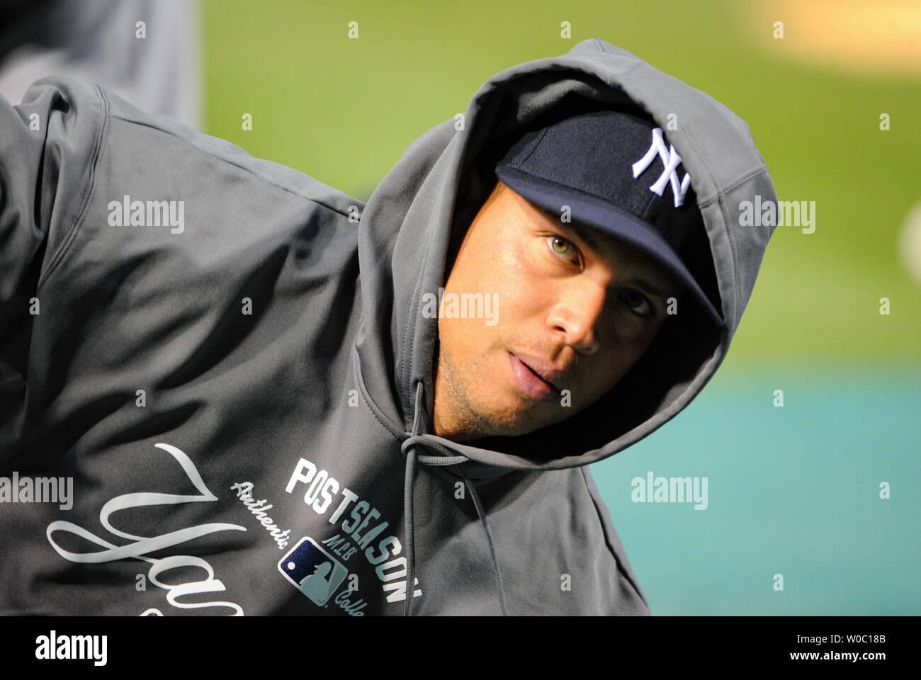 New York Yankees third baseman Alex Rodriguez (13) warms up at