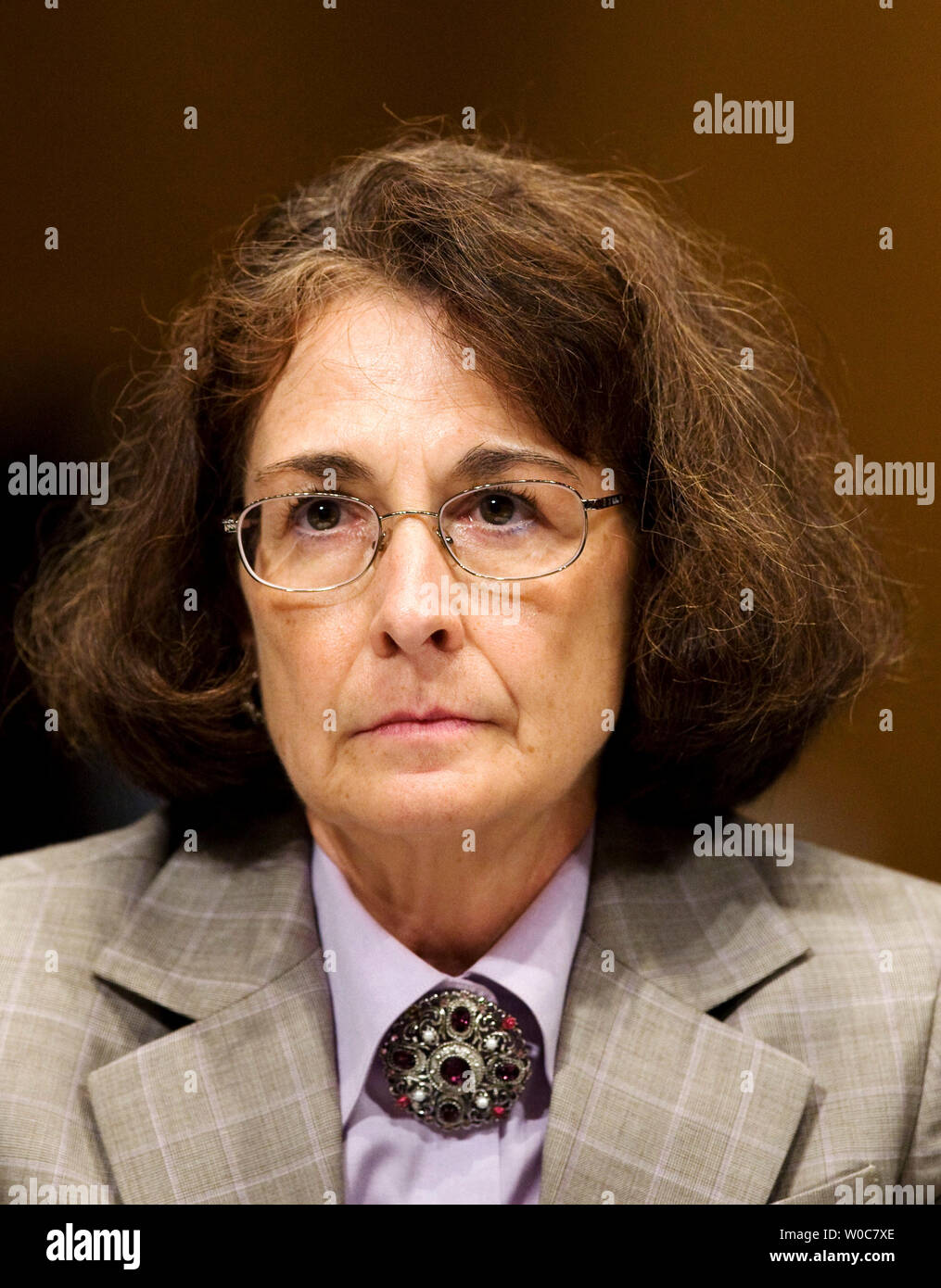 Retired Navy Rear Adm. Jane Dalton, former legal advisor to the chairman of the Joint Chiefs of Staff, testifies during a Senate Armed Services Committee hearing on the origins of aggressive interrogation techniques and treatment of detainees in U.S. Custody on Capitol Hill in Washington on June 17, 2008. (UPI Photo/Patrick D. McDermott) - Stock Image