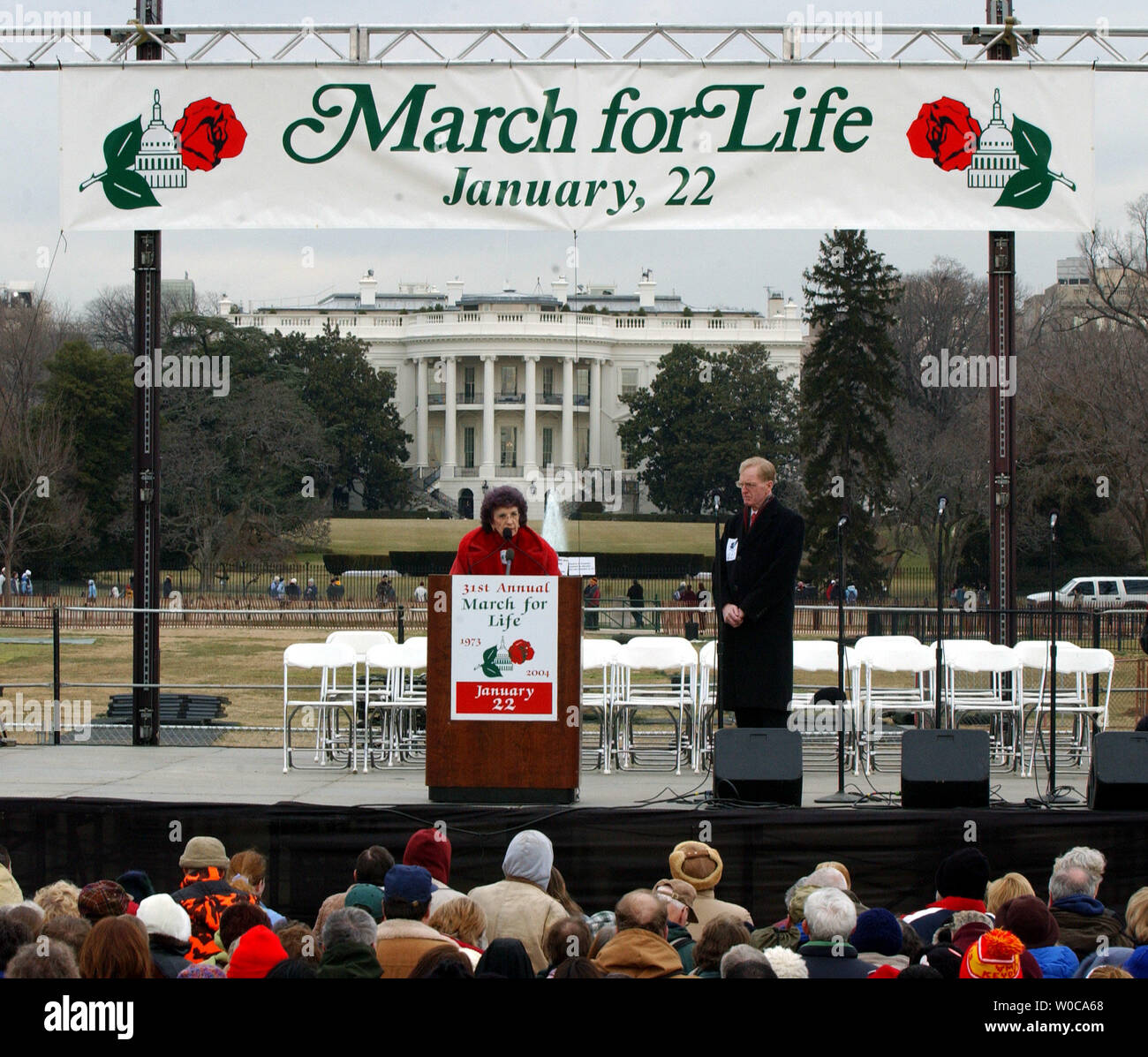 Nellie Gray, President of the March for Life Fund, addresses thousands of protestors assembled near the White House to march against abortion rights on January 22, 2004, in Washington. This is the 31st annual march held on the anniversary of the Supreme Court decision Roe vs. Wade which legalized abortions across the U.S.   (UPI Photo/Roger L. Wollenberg) Stock Photo