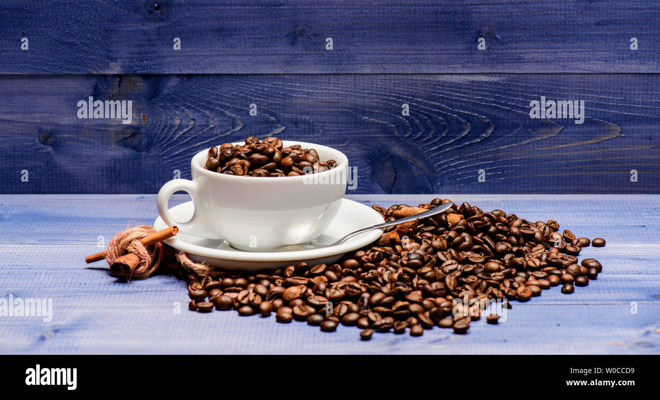 Cafe Drinks Menu Coffee Break And Relax Fresh Roasted Coffee Beans Caffeine Concept Inspiration And Energy Charge Cup Full Coffee Brown Roasted Bean Blue Wooden Background Coffee Shop Concept Stock Photo