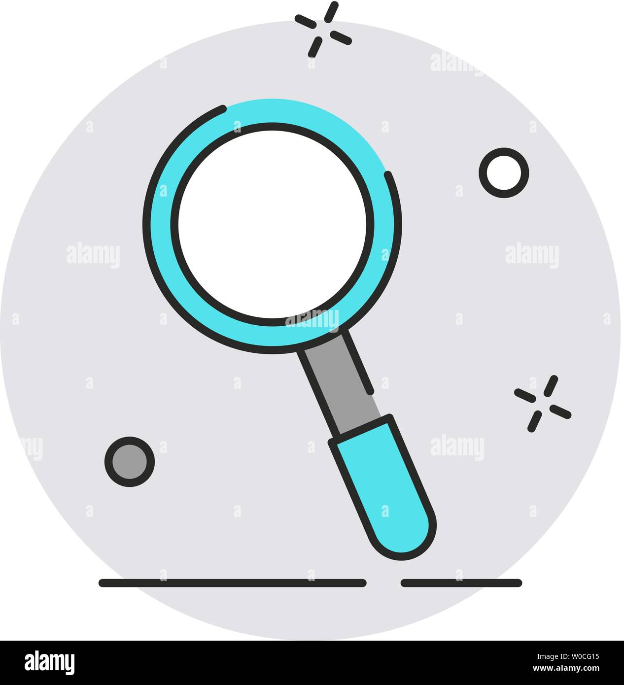Magnifying glass icon. Modern flat design style. Vector simple illustration icon for web site page, marketing, mobile app, design element on white bac - Stock Image