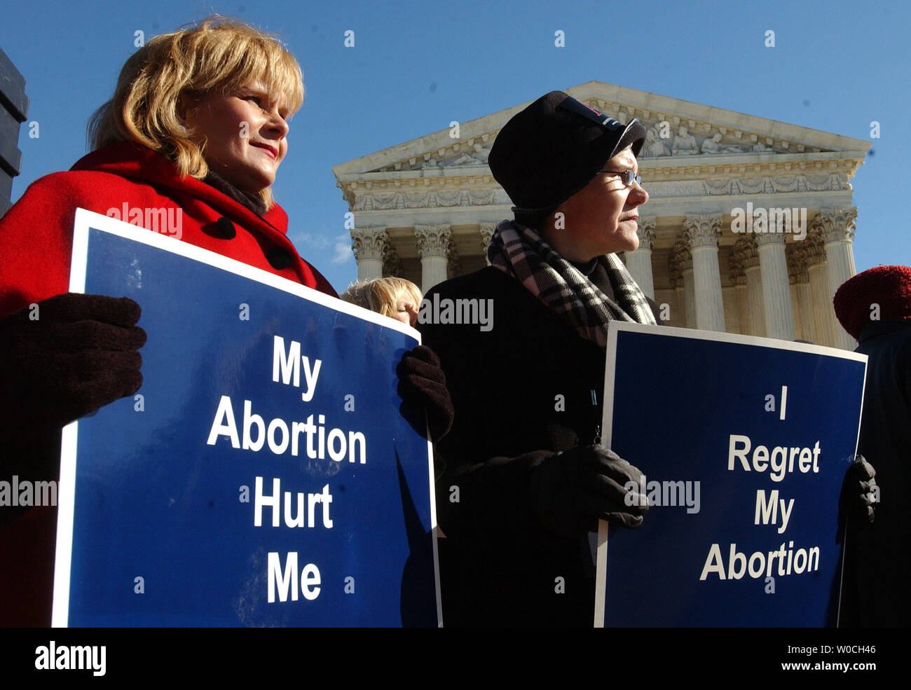 Joyce Zounis (l) and Millie Lace, who have had abortions and regret them, participate in a news conference in front of the Supreme Court, urging the court to vacate the Roe v. Wade decision and allow states to set abortion policy on Jan. 18, 2005, in Washington. (UPI Photo/Roger L. Wollenberg) Stock Photo