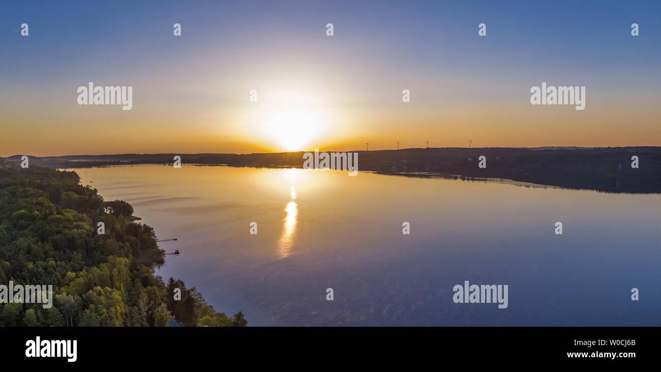 View of Lake Starnberg at sunrise, Bavaria, Germany - Stock Image