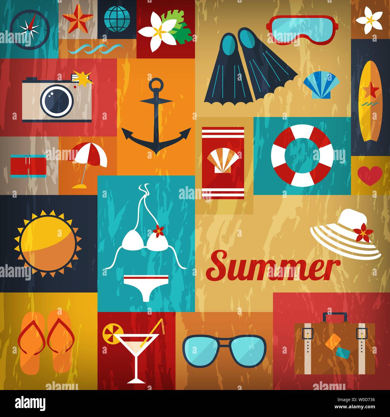 abstract bright summer background of flat icons with retro effect vector - Stock Vector