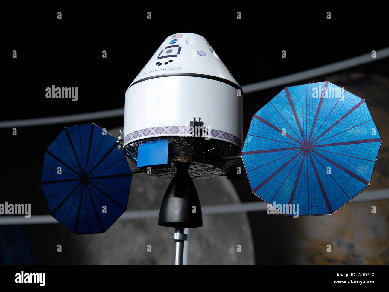A scale model of the Orion spacecraft is seen during a press conference where NASA  announced that Lockheed Martin Corp. was selected as the prime contractor for the design, development and construction of Orion spacecraft, at NASA headquarters in Washington on August 31, 2006. The Orion will be the next generation of human spacecraft which  NASA hopes to have in orbit in 2012.  (UPI Photo/Kevin Dietsch) - Stock Image