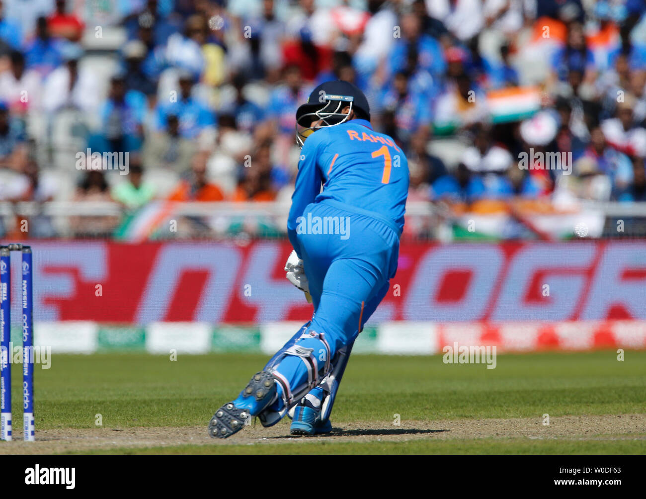 Old Trafford, Manchester, UK. 27th June, 2019. ICC World Cup cricket, West Indies versus India; KL Rahul of India nudges a shot down the leg side Credit: Action Plus Sports/Alamy Live News - Stock Image