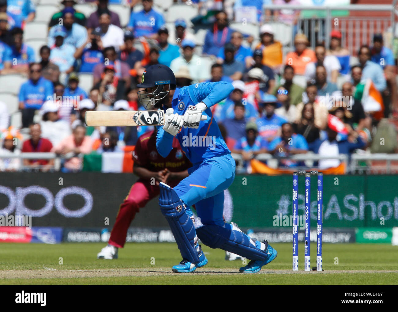 Old Trafford, Manchester, UK. 27th June, 2019. ICC World Cup cricket, West Indies versus India; KL Rahul of India pushes a ball away to the off side Credit: Action Plus Sports/Alamy Live News - Stock Image