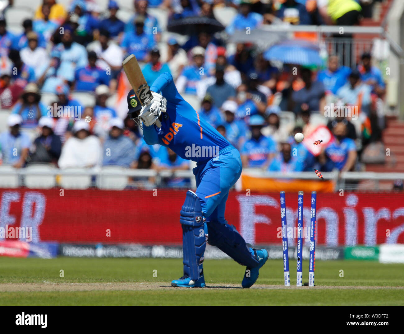 Old Trafford, Manchester, UK. 27th June, 2019. ICC World Cup cricket, West Indies versus India; West Indies captain Jason Holder bowls KL Rahul of India for 48 Credit: Action Plus Sports/Alamy Live News - Stock Image
