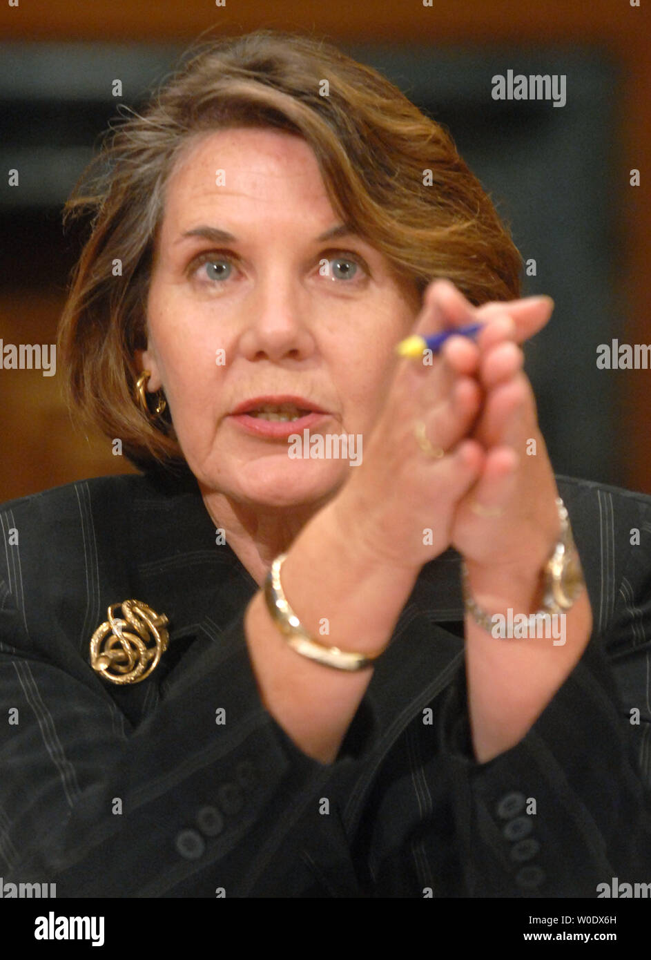 Nancy Nord, acting Chairman of the Consumer Product Safety Commission, testifies before a Senate Finance Services and General Government Subcommittee hearing on toy safety standards in Washington on September 12, 2007. (UPI Photo/Kevin Dietsch) Stock Photo