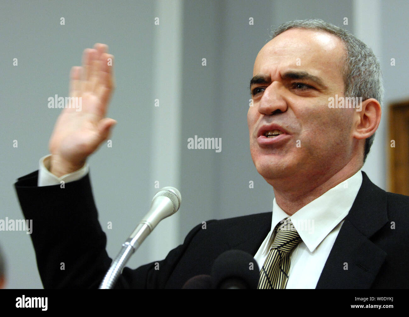 Garry Kasparov, Russian opposition leader and former World chess Champion, participates in a conference about politics in Russia on October 10, 2007, on Capitol Hill in Washington. One year after Anna Politkovskaya's murder, a Russian journalist and human rights activist known for her opposition to the Chechen conflict and Russian President Putin, Kasparov says democracy in Russia is going backwards.    (UPI Photo/Roger L. Wollenberg) - Stock Image