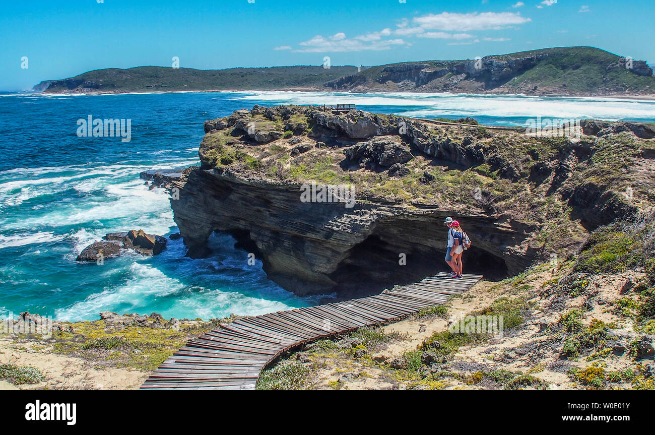 South Africa, Garden Route, trail by the Indian Ocean, Plettenberg (MODEL RELEASE) - Stock Image