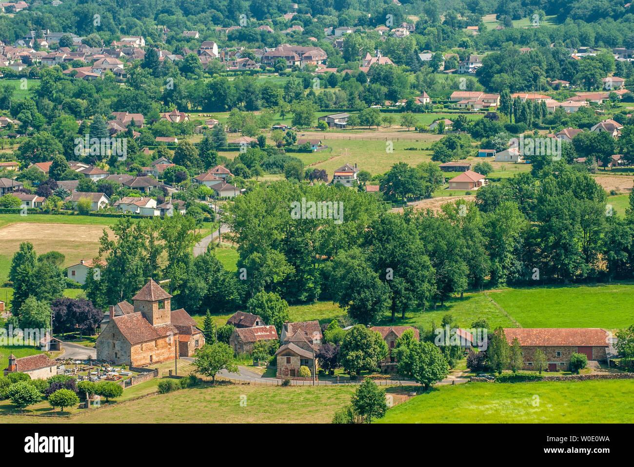 France, Lot, vallée de la Bave, view from the Château de Castelnau-Bretenoux (Camino de Santiago) Stock Photo
