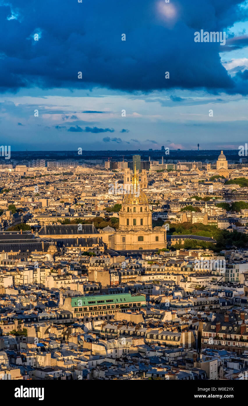 France, 7th arrondissement of Paris, view from the Eiffel Tower (Hotel des Invalides and eglise du Dome) Stock Photo
