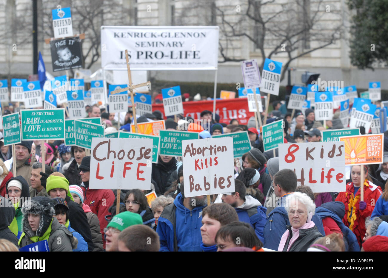 """Pro-life activists take part in the """"March for Life"""" anti-abortion demonstration in Washington on January 22, 2008. The demonstration marked the 35th anniversary of the Supreme Court's 1973 decision in Roe vs Wade making abortions legal. (UPI Photo/Kevin Dietsch) Stock Photo"""
