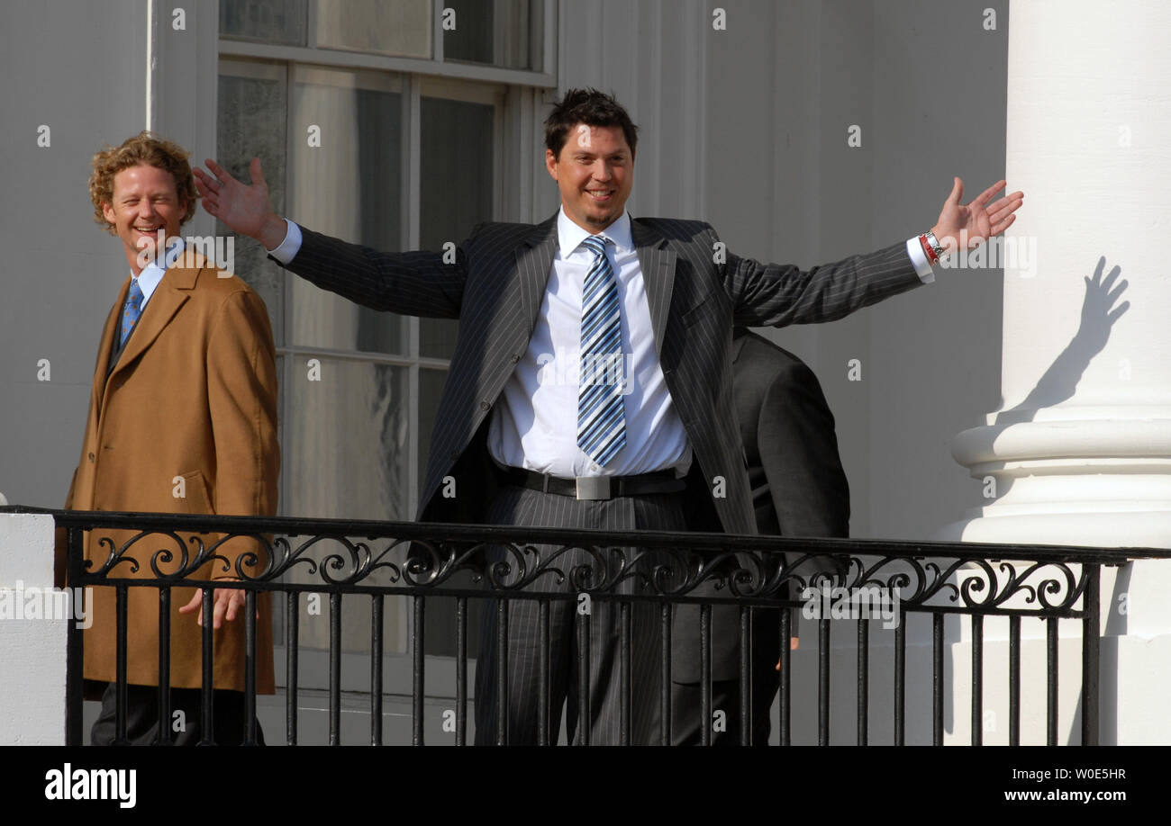 Boston Red Sox Pitcher Josh Beckett reacts to the crowd as he ascends the South Portico of the White House, after U.S. President George W. Bush honored the 2007 World Series Champions, in Washington on February 27, 2008. Pitcher Kyle Snyder (L) walks past. (UPI Photo/Alexis C. Glenn) Stock Photo