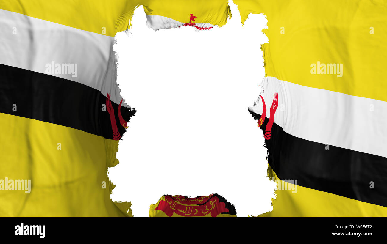 Ripped Bandar Seri Begawan, capital of Brunei flying flag, over white background, 3d rendering - Stock Image